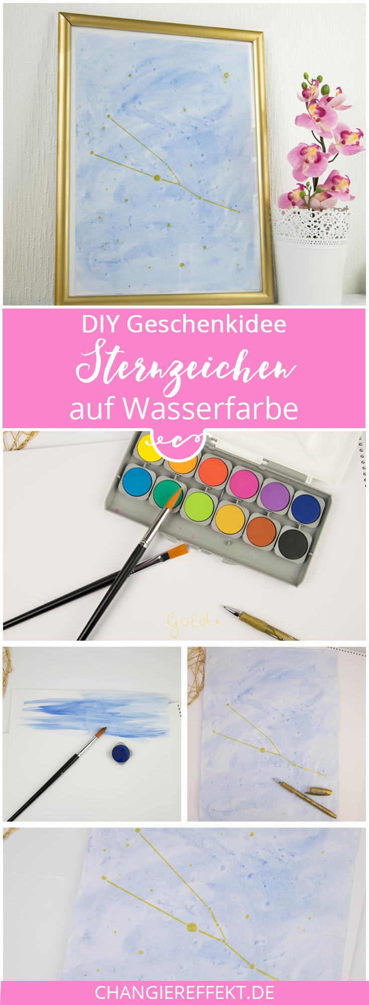 DIY Geschenk Sternzeichen Bild Wasserfarbe